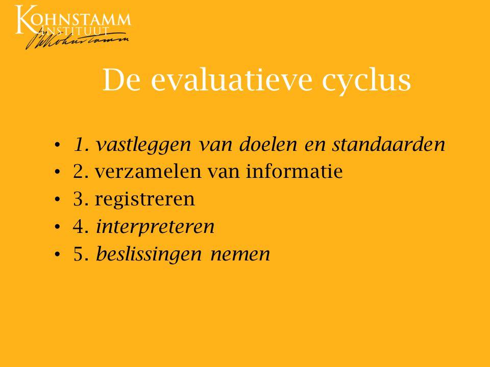 De evaluatieve cyclus 1. vastleggen van doelen en standaarden 2. verzamelen van informatie 3. registreren 4. interpreteren 5. beslissingen nemen