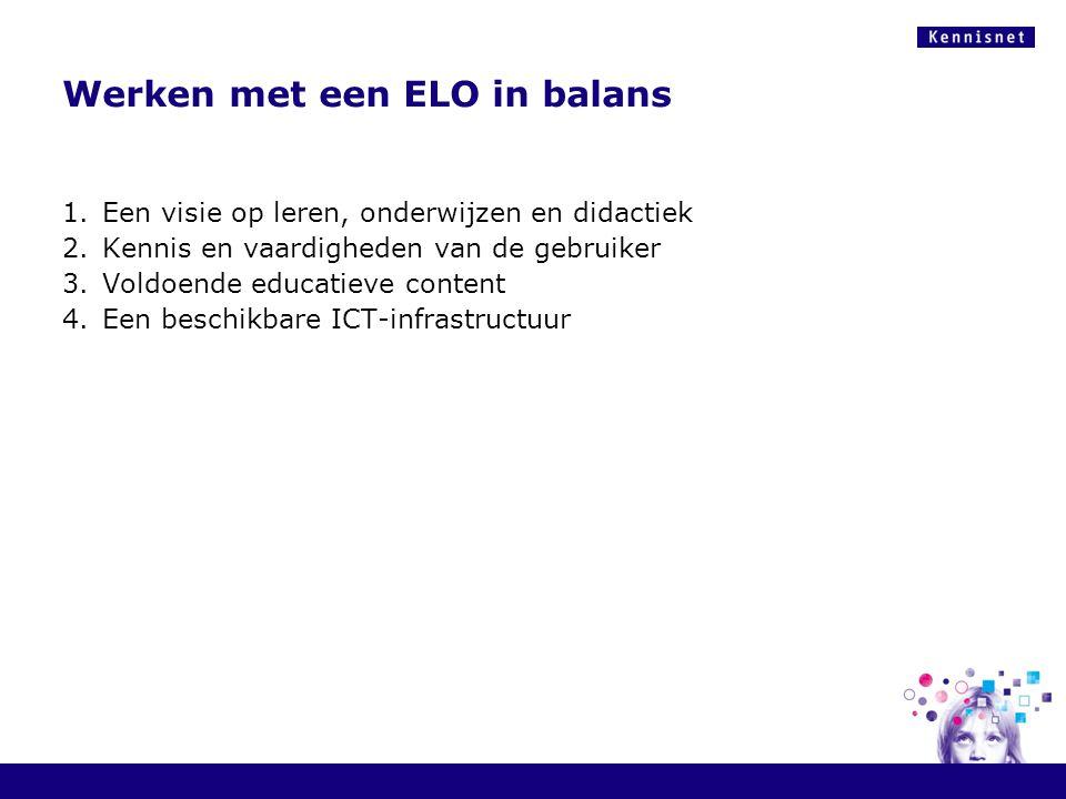 Werken met een ELO in balans 1.Een visie op leren, onderwijzen en didactiek 2.Kennis en vaardigheden van de gebruiker 3.Voldoende educatieve content 4.Een beschikbare ICT-infrastructuur
