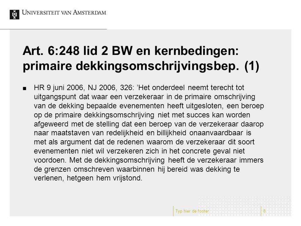 Art.6:248 lid 2 BW en kernbedingen: primaire dekkingsomschrijvingsbep.