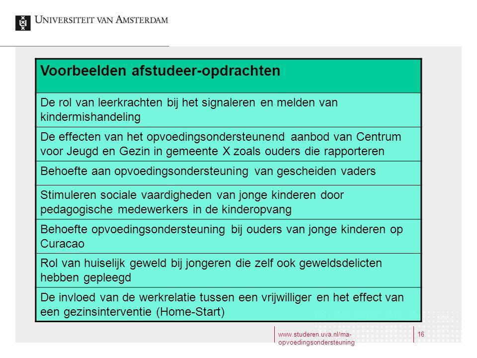 www.studeren.uva.nl/ma- opvoedingsondersteuning 16 Voorbeelden afstudeer-opdrachten De rol van leerkrachten bij het signaleren en melden van kindermis