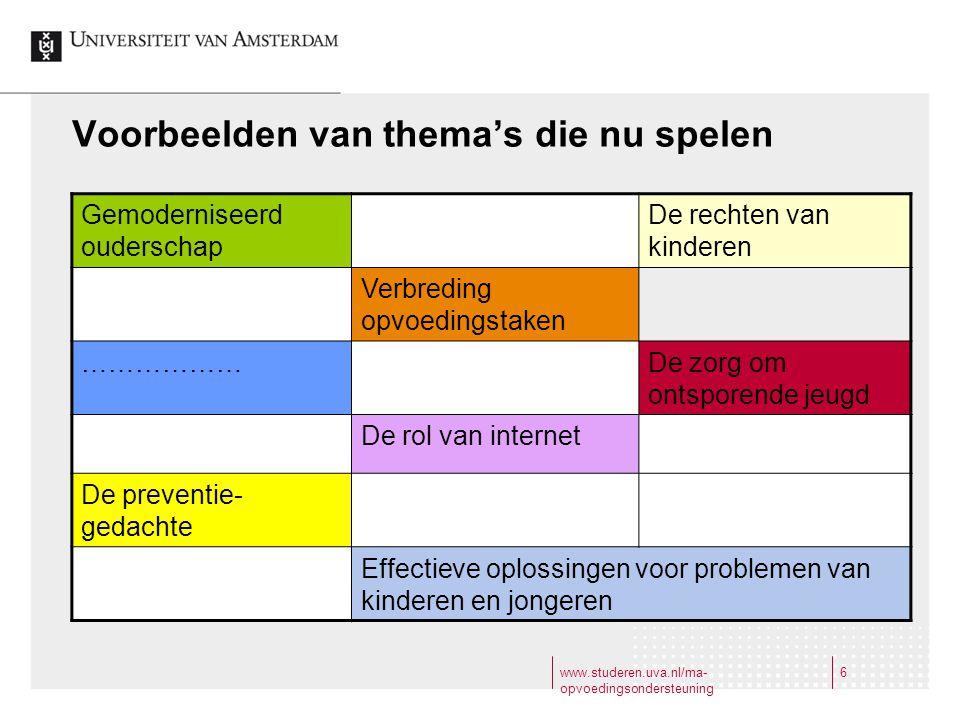 www.studeren.uva.nl/ma- opvoedingsondersteuning 7 7 Steeds duidelijker wordt ook uit onderzoek dat effectieve oplossingen voor een veelheid van problemen van de jeugd gevonden worden in de opvoeding thuis, op school en op straat.