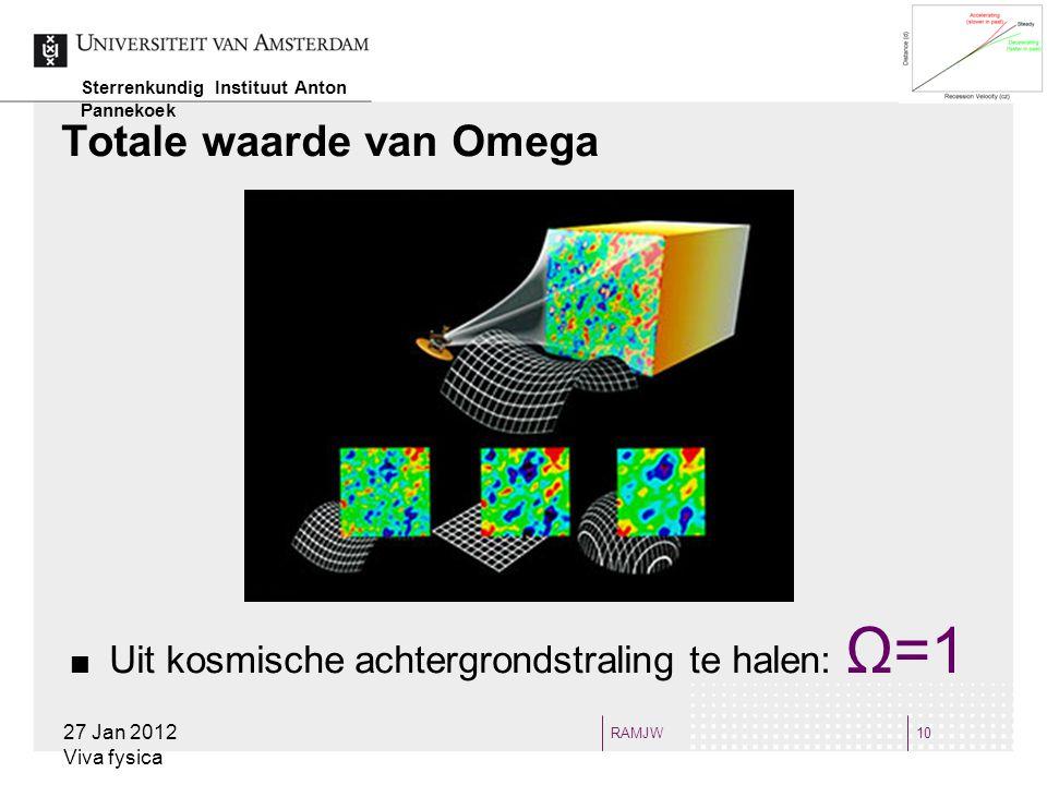 RAMJW10 Totale waarde van Omega 27 Jan 2012 Viva fysica Sterrenkundig Instituut Anton Pannekoek Uit kosmische achtergrondstraling te halen: Ω=1