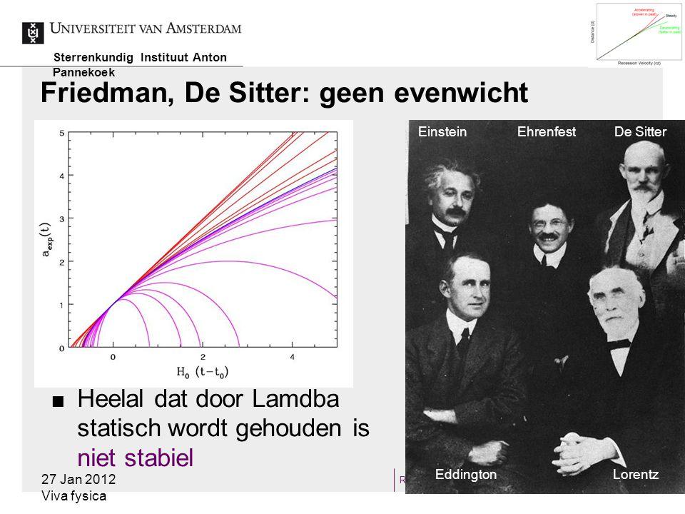 RAMJW8 Kritische dichtheid  V 2 esc =2GM/r  V=H 0 r  ρ cr =3H 0 2 /8πG  Afspraak: Ω=ρ/ρ cr  Ω<1: 'open Heelal', altijd uitdijend 27 Jan 2012 Viva fysica Sterrenkundig Instituut Anton Pannekoek