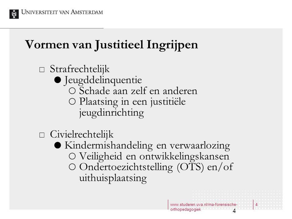 www.studeren.uva.nl/ma-forensische- orthopedagogiek 4 4 Vormen van Justitieel Ingrijpen  Strafrechtelijk  Jeugddelinquentie  Schade aan zelf en and