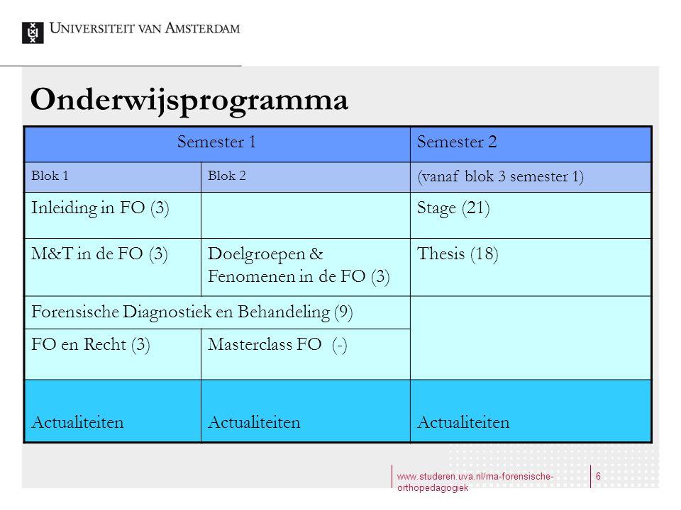 www.studeren.uva.nl/ma-forensische- orthopedagogiek 6 Onderwijsprogramma Semester 1Semester 2 Blok 1Blok 2 (vanaf blok 3 semester 1) Inleiding in FO (