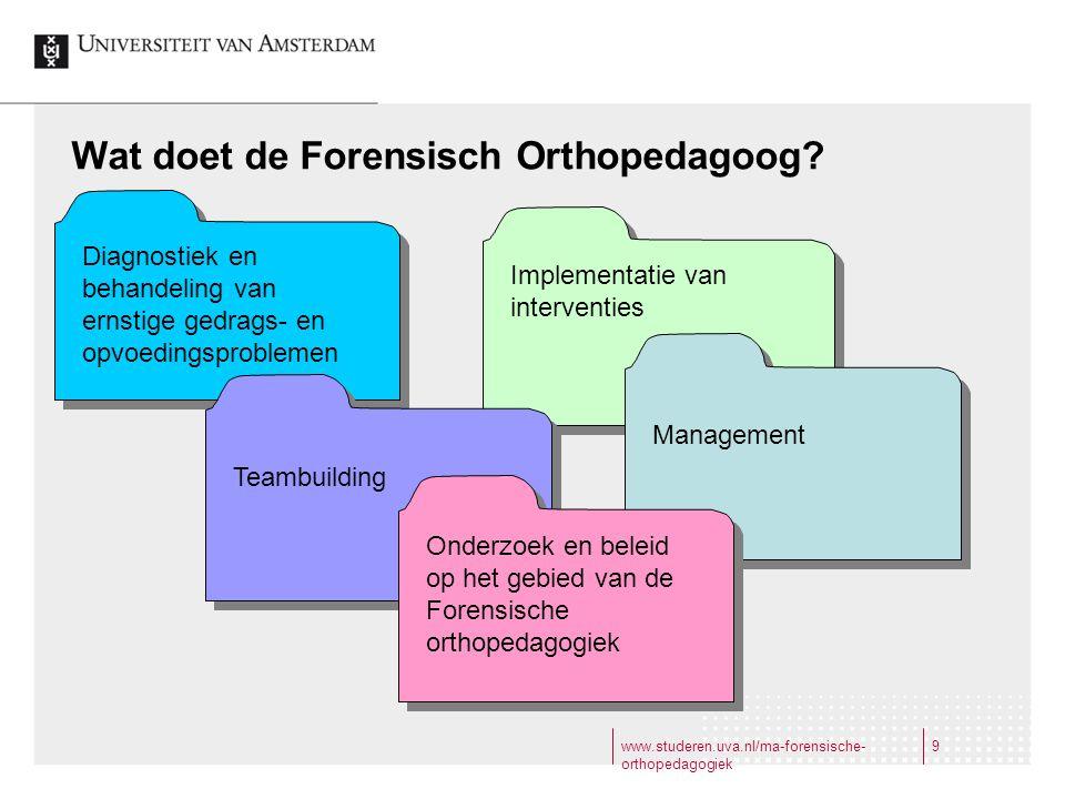 www.studeren.uva.nl/ma-forensische- orthopedagogiek 9 Wat doet de Forensisch Orthopedagoog? Implementatie van interventies Diagnostiek en behandeling