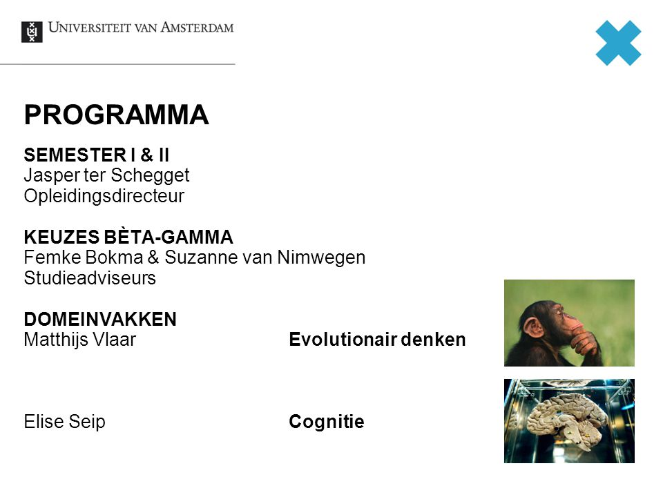 AFRONDING SEMESTER I DECEMBER Tentamens 16 t/m 20 december Donderdag 12 december: slotsymposium Keerpunten JANUARI Logica (6 jan) Bèta-gamma practicum