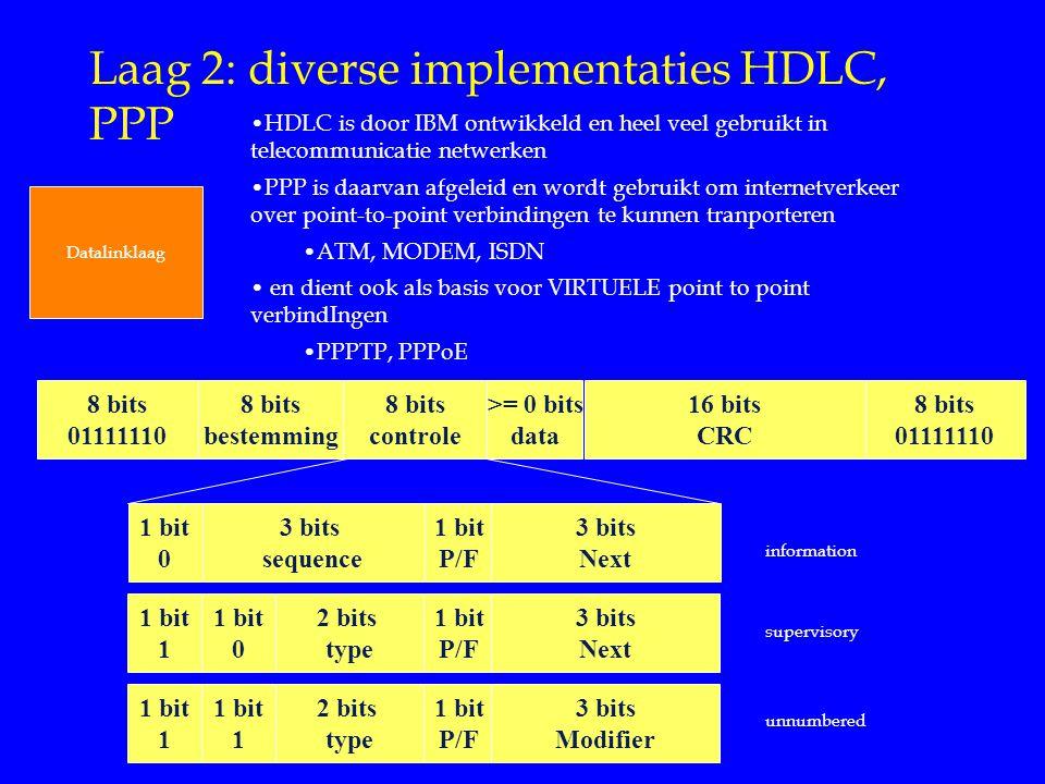 Laag 2: diverse implementaties HDLC, PPP Datalinklaag 1 bit 0 3 bits sequence 1 bit P/F 3 bits Next 1 bit 1 2 bits type 1 bit P/F 3 bits Next 1 bit 0 1 bit 1 2 bits type 1 bit P/F 3 bits Modifier 1 bit 1 8 bits 01111110 8 bits bestemming 8 bits controle >= 0 bits data 16 bits CRC information 8 bits 01111110 supervisory unnumbered HDLC is door IBM ontwikkeld en heel veel gebruikt in telecommunicatie netwerken PPP is daarvan afgeleid en wordt gebruikt om internetverkeer over point-to-point verbindingen te kunnen tranporteren ATM, MODEM, ISDN en dient ook als basis voor VIRTUELE point to point verbindIngen PPPTP, PPPoE