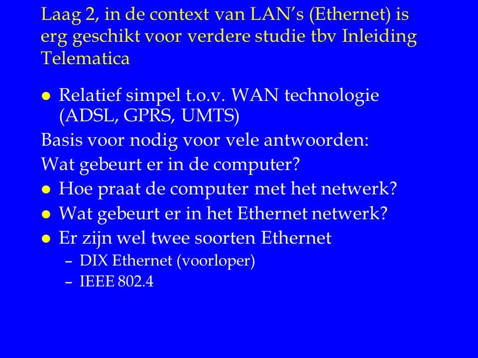 Verschil tussen DIX en 802.3 Ethernet Datalinklaag LLC IEEE 802.2: logical link control Ethernet MAC IEEE 802.3 medium access control Services Besturing DIX Services Besturing l IEEE vond een (1) abstractie van diverse netwerken handig: LLC l LLC abstraheert diensten/besturing van diverse transport media l Netwerklaag hoeft zich (bijna) niet aan te passen aan Ethernet Wifi, Bluetooth etc