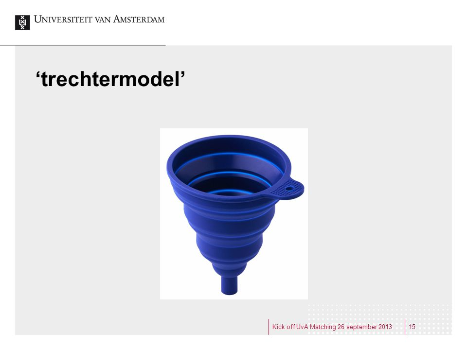 'trechtermodel' 15Kick off UvA Matching 26 september 2013