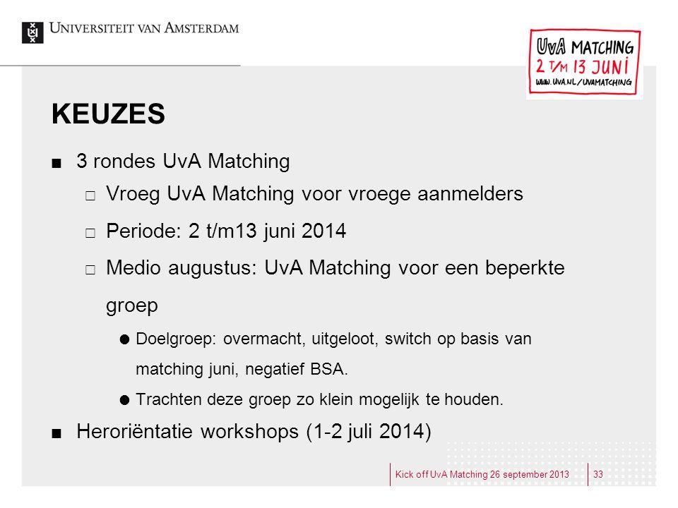 KEUZES 3 rondes UvA Matching  Vroeg UvA Matching voor vroege aanmelders  Periode: 2 t/m13 juni 2014  Medio augustus: UvA Matching voor een beperkte