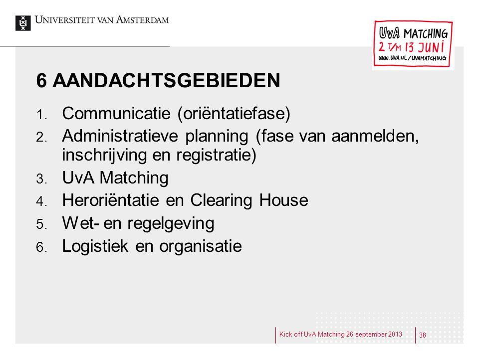 6 AANDACHTSGEBIEDEN 1. Communicatie (oriëntatiefase) 2. Administratieve planning (fase van aanmelden, inschrijving en registratie) 3. UvA Matching 4.