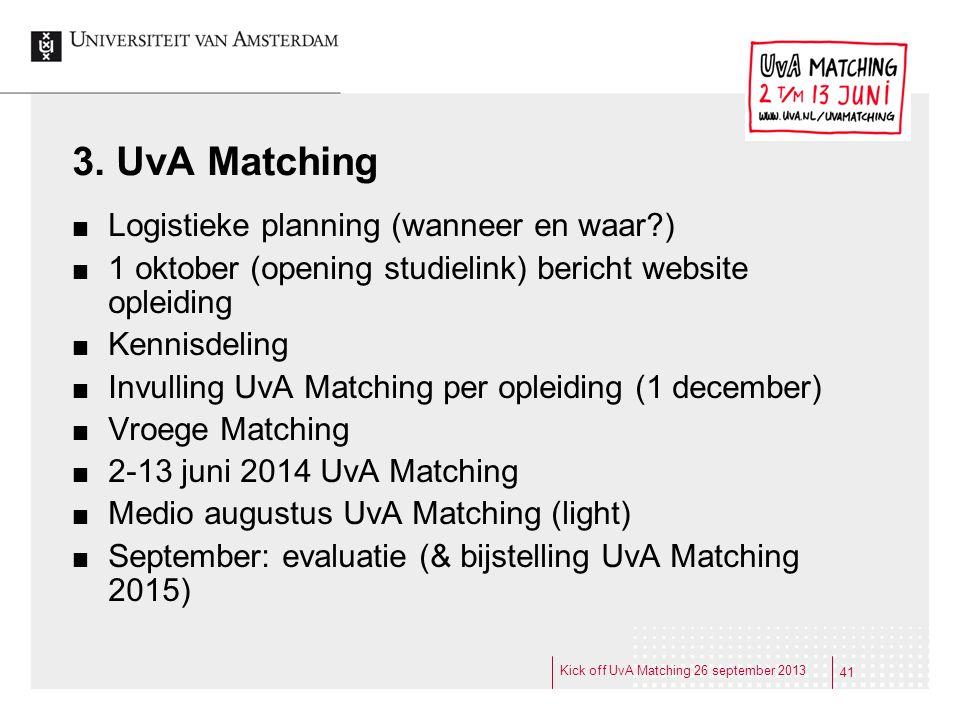 3. UvA Matching Logistieke planning (wanneer en waar?) 1 oktober (opening studielink) bericht website opleiding Kennisdeling Invulling UvA Matching pe