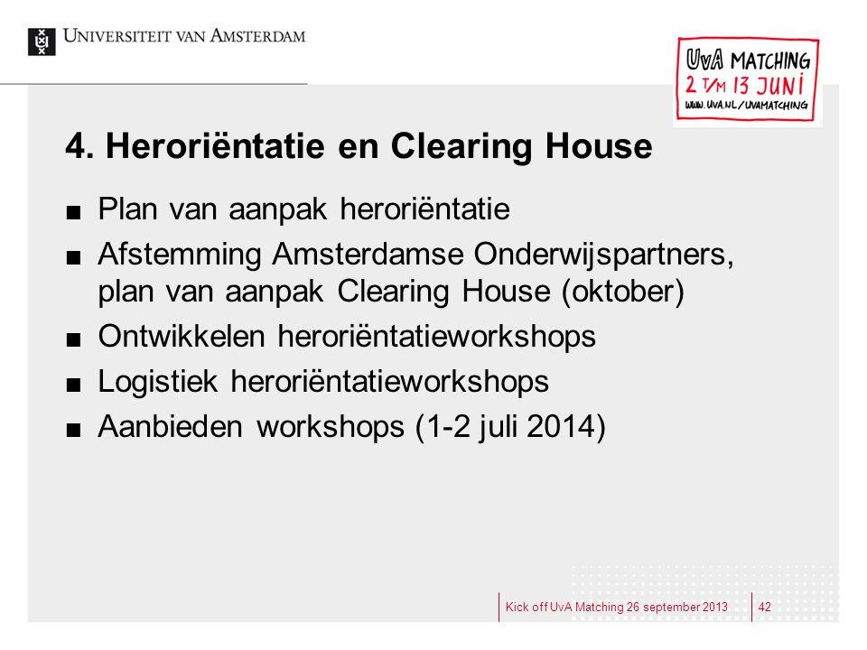 4. Heroriëntatie en Clearing House Plan van aanpak heroriëntatie Afstemming Amsterdamse Onderwijspartners, plan van aanpak Clearing House (oktober) On
