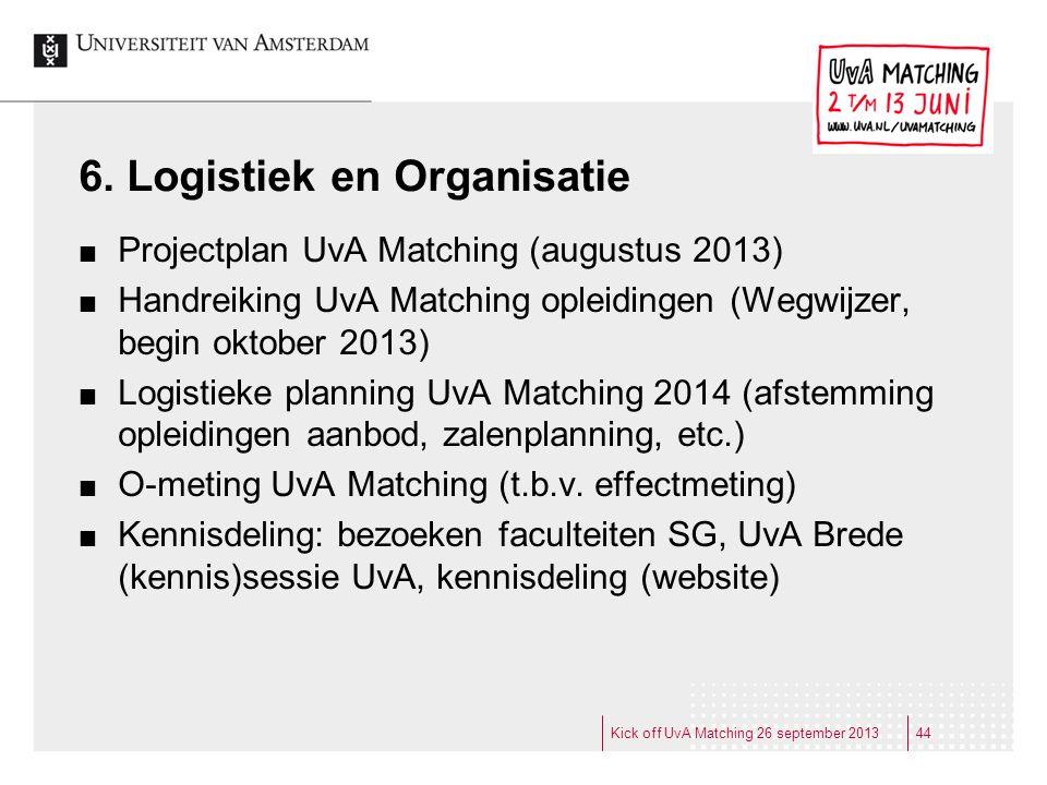 6. Logistiek en Organisatie Projectplan UvA Matching (augustus 2013) Handreiking UvA Matching opleidingen (Wegwijzer, begin oktober 2013) Logistieke p