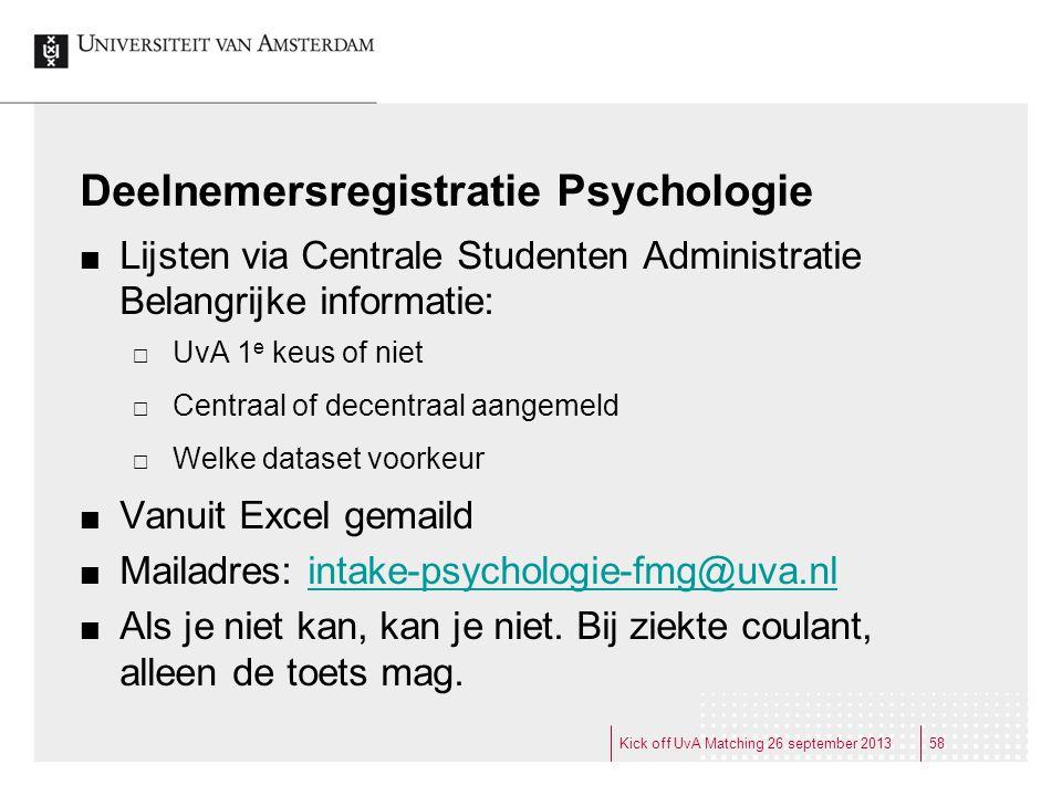 Deelnemersregistratie Psychologie Lijsten via Centrale Studenten Administratie Belangrijke informatie:  UvA 1 e keus of niet  Centraal of decentraal