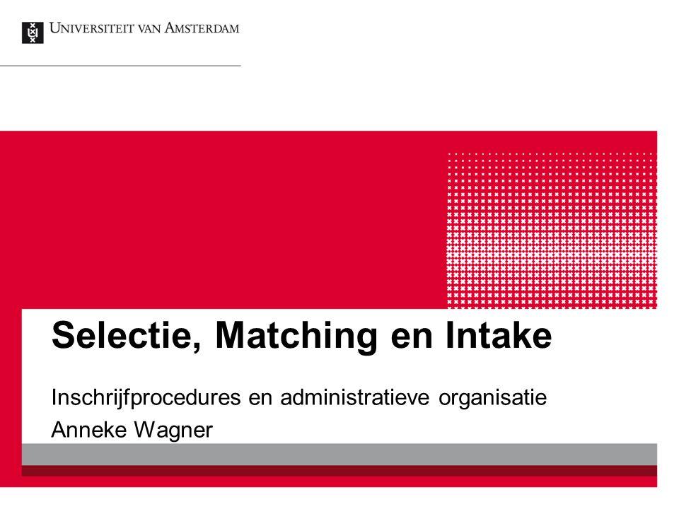 Selectie, Matching en Intake Inschrijfprocedures en administratieve organisatie Anneke Wagner
