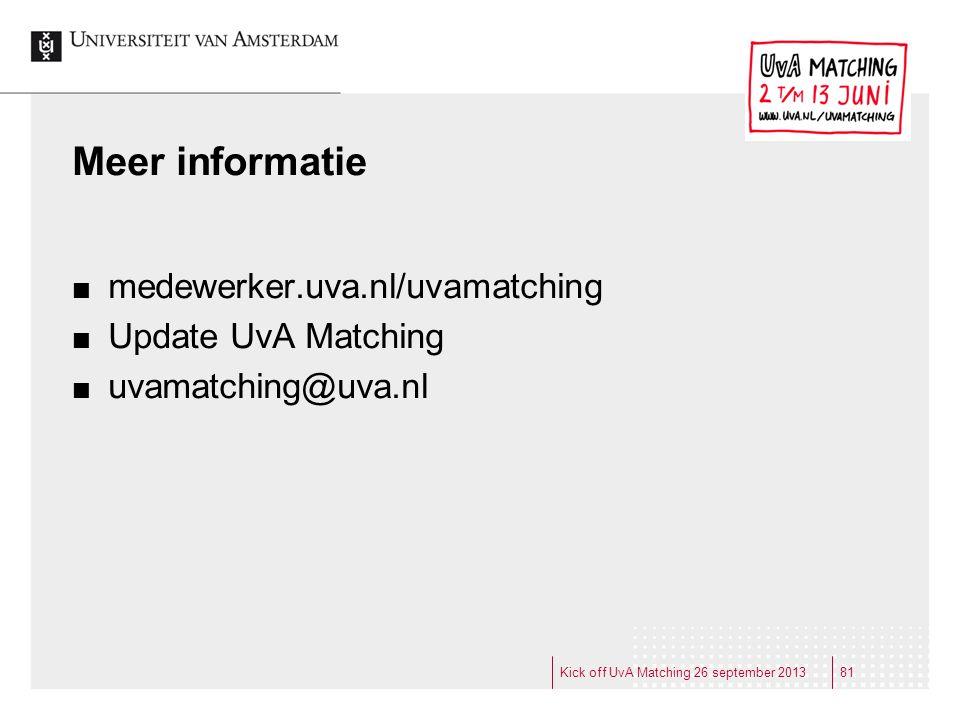 Meer informatie medewerker.uva.nl/uvamatching Update UvA Matching uvamatching@uva.nl Kick off UvA Matching 26 september 201381