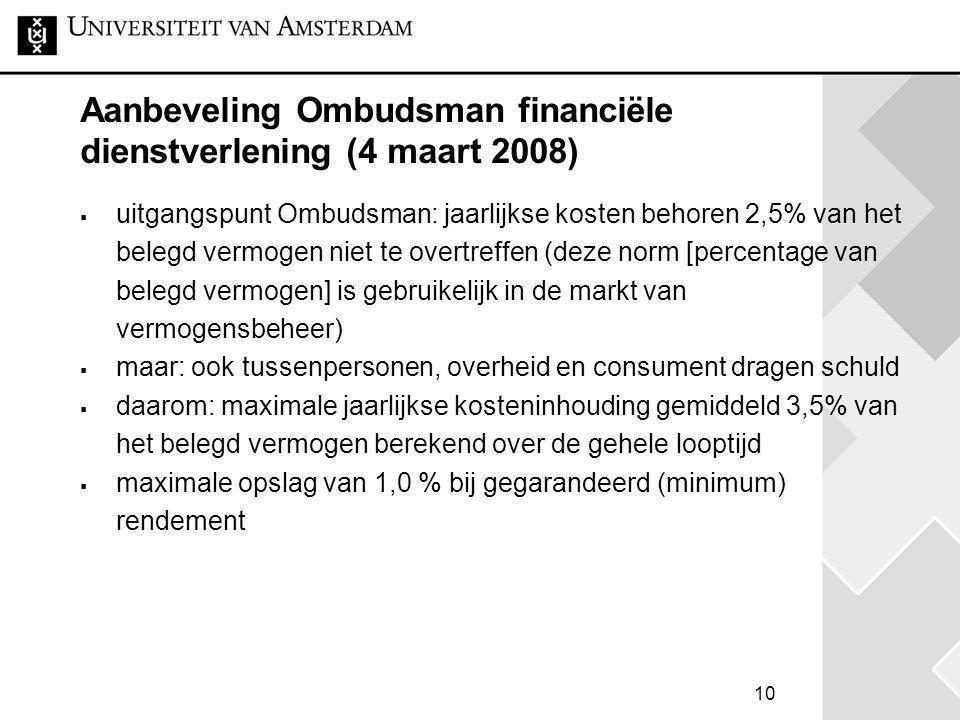 10 Aanbeveling Ombudsman financiële dienstverlening (4 maart 2008)  uitgangspunt Ombudsman: jaarlijkse kosten behoren 2,5% van het belegd vermogen ni
