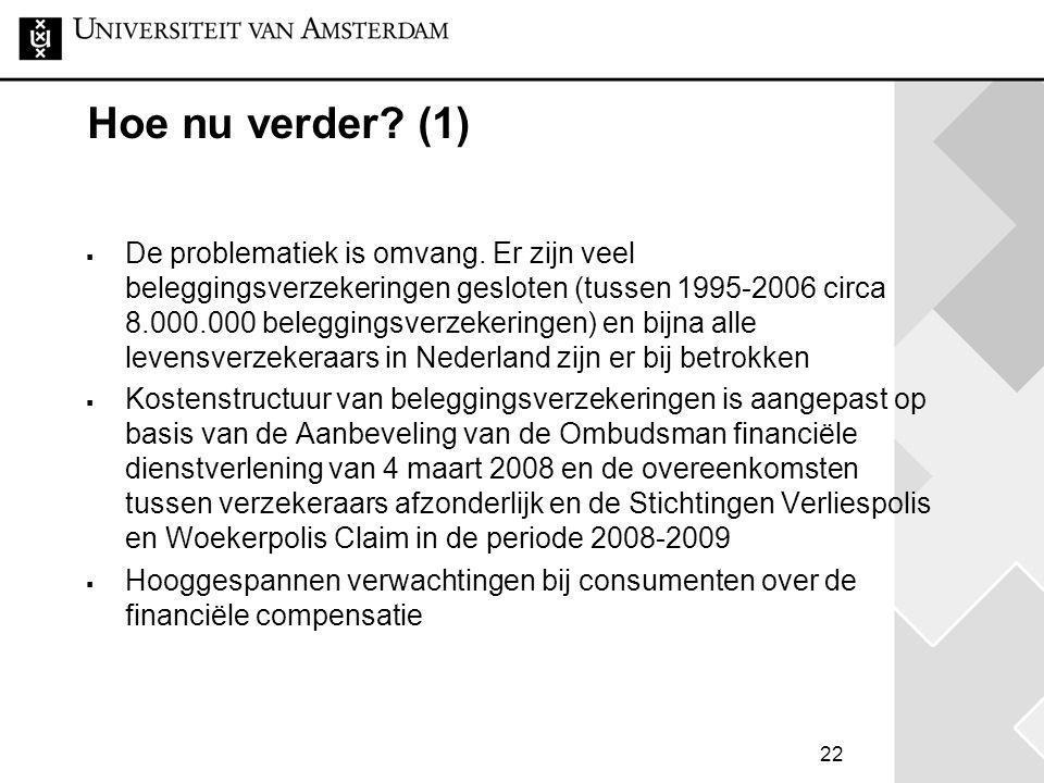 22 Hoe nu verder? (1)  De problematiek is omvang. Er zijn veel beleggingsverzekeringen gesloten (tussen 1995-2006 circa 8.000.000 beleggingsverzekeri