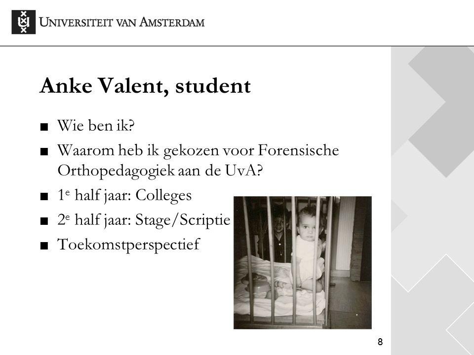 88 Anke Valent, student Wie ben ik? Waarom heb ik gekozen voor Forensische Orthopedagogiek aan de UvA? 1 e half jaar: Colleges 2 e half jaar: Stage/Sc