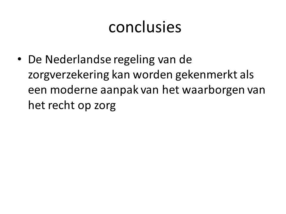 conclusies De Nederlandse regeling van de zorgverzekering kan worden gekenmerkt als een moderne aanpak van het waarborgen van het recht op zorg