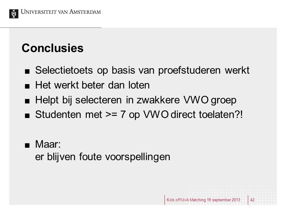 Conclusies Kick off UvA Matching 19 september 2013 Selectietoets op basis van proefstuderen werkt Het werkt beter dan loten Helpt bij selecteren in zw