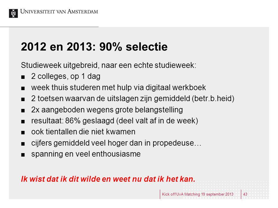 2012 en 2013: 90% selectie Studieweek uitgebreid, naar een echte studieweek: 2 colleges, op 1 dag week thuis studeren met hulp via digitaal werkboek 2