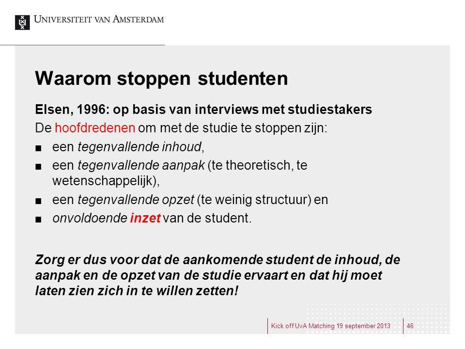 Waarom stoppen studenten Elsen, 1996: op basis van interviews met studiestakers De hoofdredenen om met de studie te stoppen zijn: een tegenvallende in