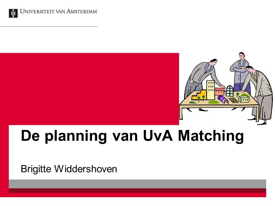 De planning van UvA Matching Brigitte Widdershoven