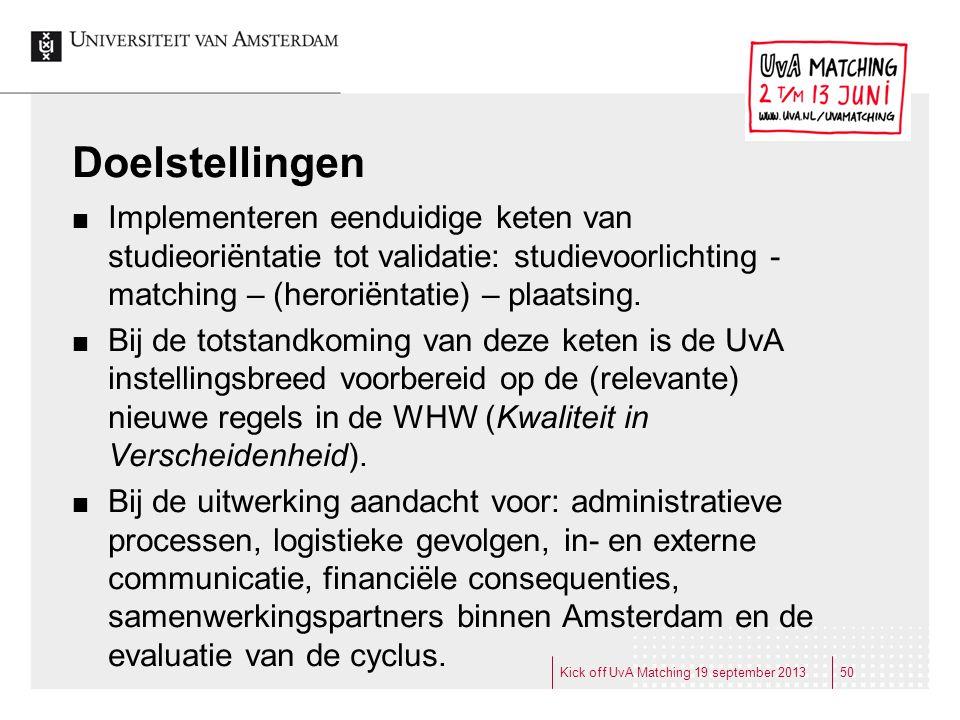 Doelstellingen Implementeren eenduidige keten van studieoriëntatie tot validatie: studievoorlichting - matching – (heroriëntatie) – plaatsing. Bij de