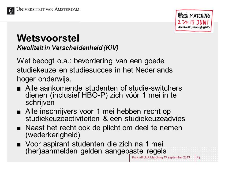 Wetsvoorstel Kwaliteit in Verscheidenheid (KiV) Wet beoogt o.a.: bevordering van een goede studiekeuze en studiesucces in het Nederlands hoger onderwi