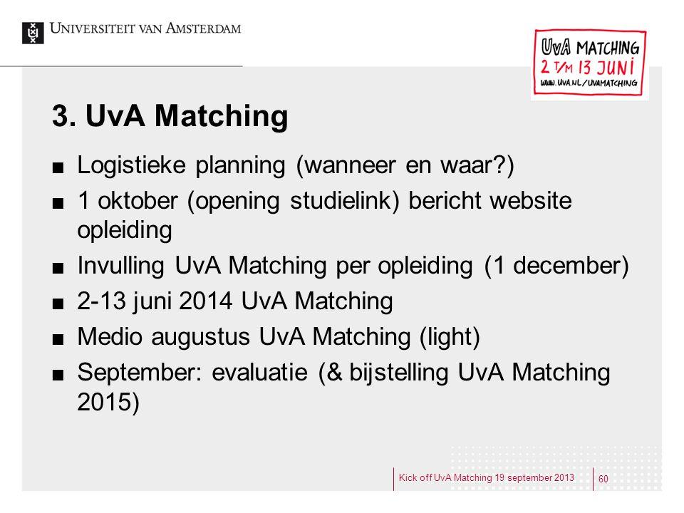 3. UvA Matching Logistieke planning (wanneer en waar?) 1 oktober (opening studielink) bericht website opleiding Invulling UvA Matching per opleiding (