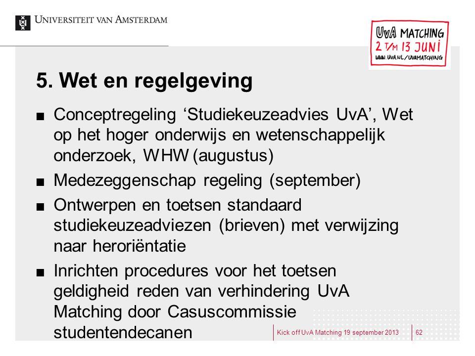 5. Wet en regelgeving Conceptregeling 'Studiekeuzeadvies UvA', Wet op het hoger onderwijs en wetenschappelijk onderzoek, WHW (augustus) Medezeggenscha
