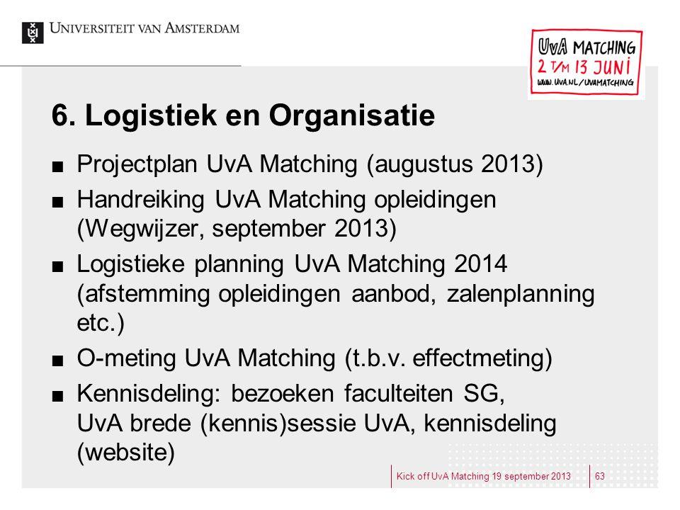 6. Logistiek en Organisatie Projectplan UvA Matching (augustus 2013) Handreiking UvA Matching opleidingen (Wegwijzer, september 2013) Logistieke plann