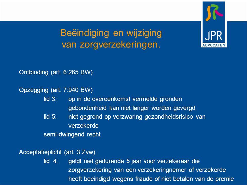 Beëindiging en wijziging van zorgverzekeringen. Ontbinding (art. 6:265 BW) Opzegging (art. 7:940 BW) lid 3: op in de overeenkomst vermelde gronden geb