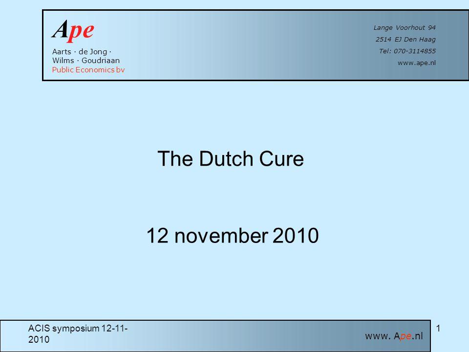 ACIS symposium 12-11- 2010 1 Ape Aarts · de Jong · Wilms · Goudriaan Public Economics bv Lange Voorhout 94 2514 EJ Den Haag Tel: 070-3114855 www.ape.nl www.