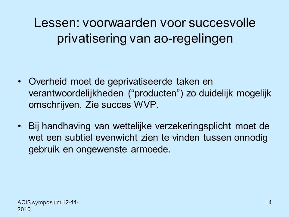 ACIS symposium 12-11- 2010 14 Lessen: voorwaarden voor succesvolle privatisering van ao-regelingen Overheid moet de geprivatiseerde taken en verantwoordelijkheden ( producten ) zo duidelijk mogelijk omschrijven.