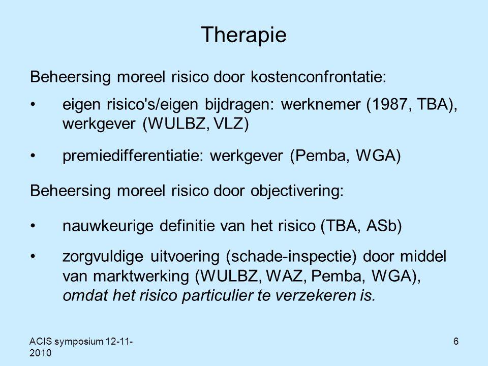ACIS symposium 12-11- 2010 6 Therapie Beheersing moreel risico door kostenconfrontatie: eigen risico s/eigen bijdragen: werknemer (1987, TBA), werkgever (WULBZ, VLZ) premiedifferentiatie: werkgever (Pemba, WGA) Beheersing moreel risico door objectivering: nauwkeurige definitie van het risico (TBA, ASb) zorgvuldige uitvoering (schade-inspectie) door middel van marktwerking (WULBZ, WAZ, Pemba, WGA), omdat het risico particulier te verzekeren is.