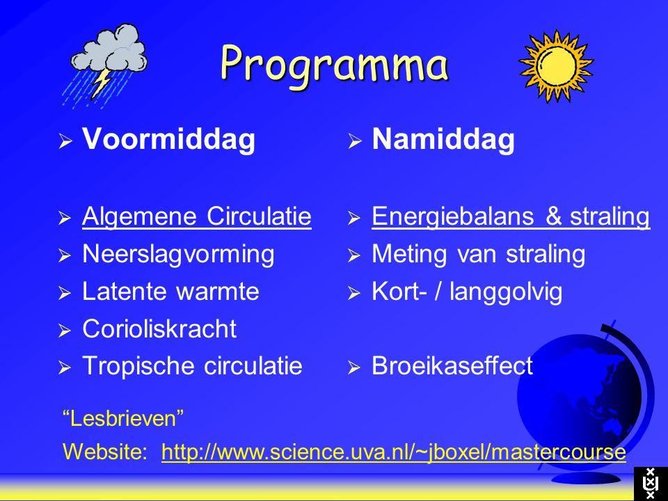 Programma  Voormiddag  Algemene Circulatie  Neerslagvorming  Latente warmte  Corioliskracht  Tropische circulatie  Namiddag  Energiebalans & s