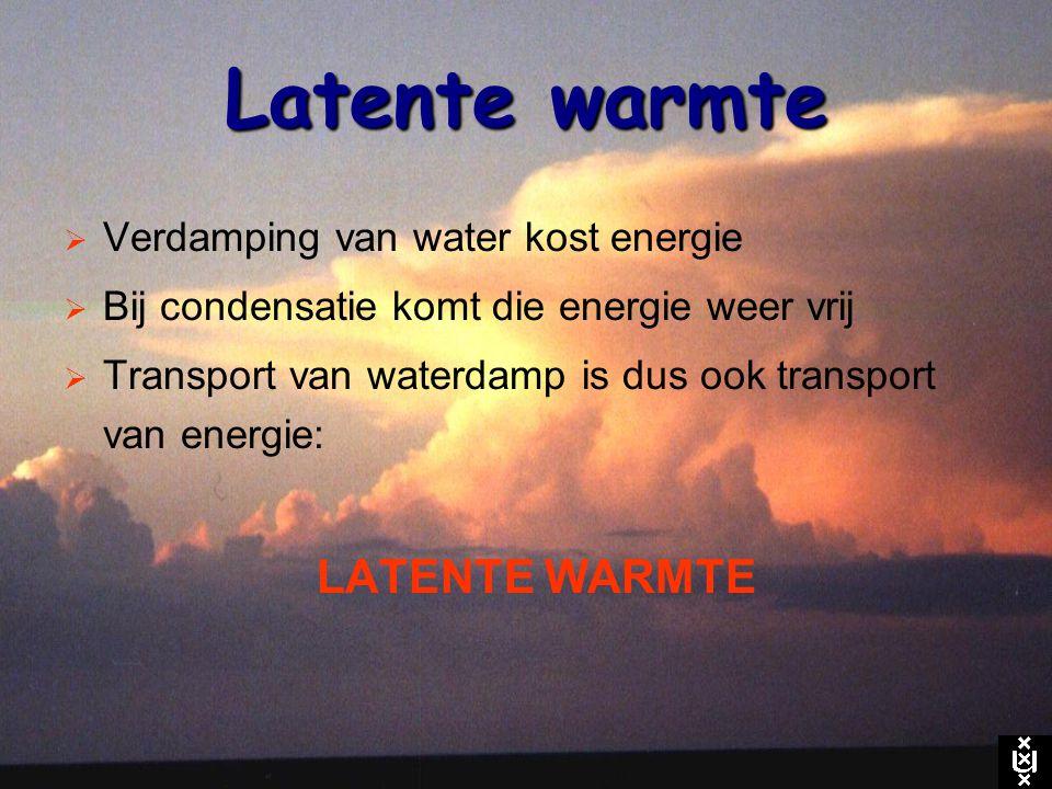 Latente warmte  Verdamping van water kost energie  Bij condensatie komt die energie weer vrij  Transport van waterdamp is dus ook transport van ene