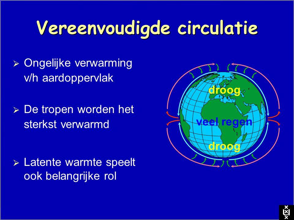 Vereenvoudigde circulatie  Ongelijke verwarming v/h aardoppervlak veel regen droog  Latente warmte speelt ook belangrijke rol  De tropen worden het