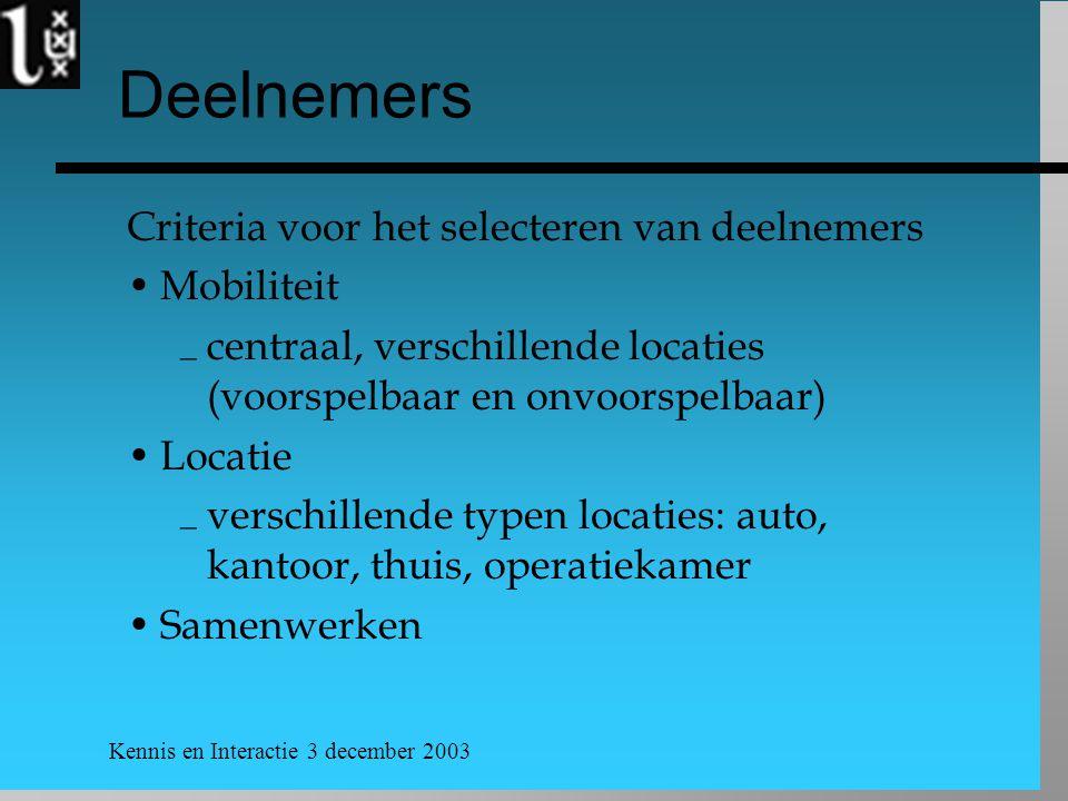 Kennis en Interactie 3 december 2003 Deelnemers Criteria voor het selecteren van deelnemers Mobiliteit  centraal, verschillende locaties (voorspelbaar en onvoorspelbaar) Locatie  verschillende typen locaties: auto, kantoor, thuis, operatiekamer Samenwerken