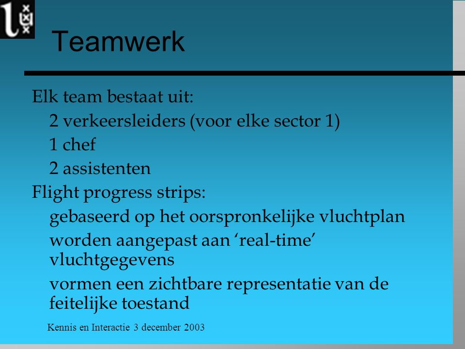 Kennis en Interactie 3 december 2003 Teamwerk Elk team bestaat uit: 2 verkeersleiders (voor elke sector 1) 1 chef 2 assistenten Flight progress strips