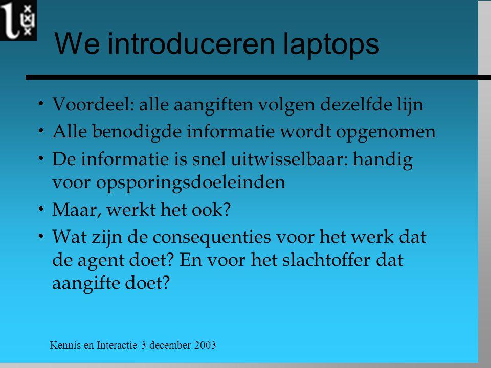 Kennis en Interactie 3 december 2003 We introduceren laptops  Voordeel: alle aangiften volgen dezelfde lijn  Alle benodigde informatie wordt opgenom