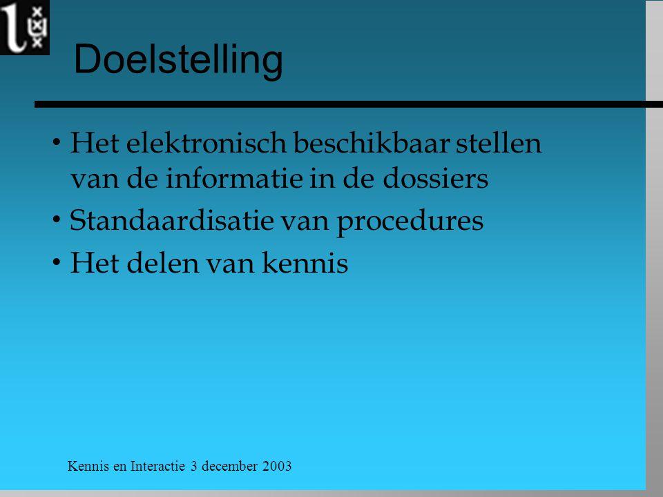 Kennis en Interactie 3 december 2003 Doelstelling  Het elektronisch beschikbaar stellen van de informatie in de dossiers  Standaardisatie van procedures  Het delen van kennis