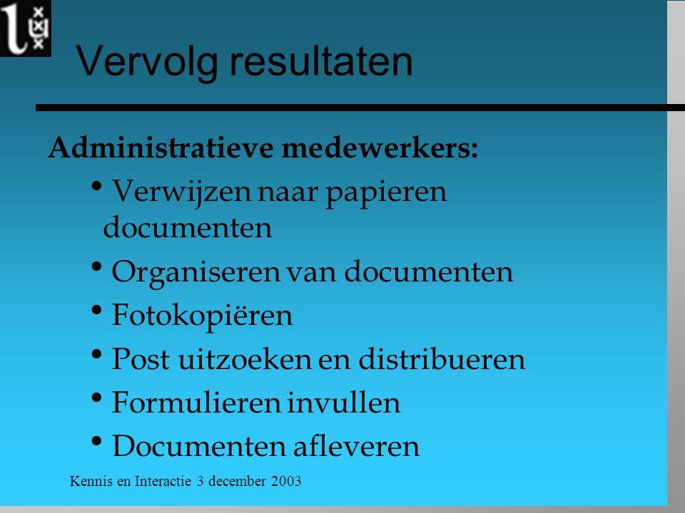 Kennis en Interactie 3 december 2003 Vervolg resultaten Administratieve medewerkers:  Verwijzen naar papieren documenten  Organiseren van documenten