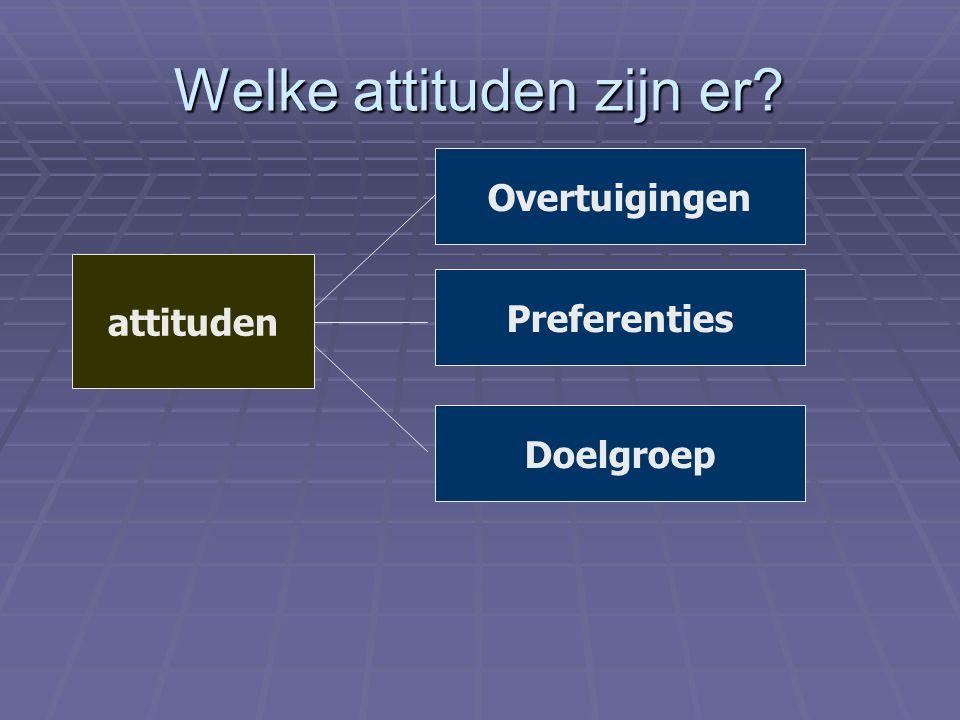 Welke attituden zijn er? attituden Overtuigingen Preferenties Doelgroep