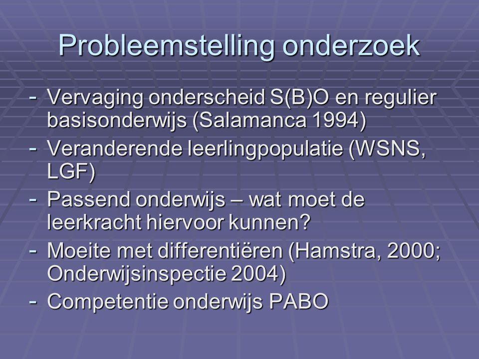 Probleemstelling onderzoek - Vervaging onderscheid S(B)O en regulier basisonderwijs (Salamanca 1994) - Veranderende leerlingpopulatie (WSNS, LGF) - Passend onderwijs – wat moet de leerkracht hiervoor kunnen.