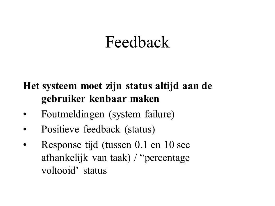 Feedback Het systeem moet zijn status altijd aan de gebruiker kenbaar maken Foutmeldingen (system failure) Positieve feedback (status) Response tijd (